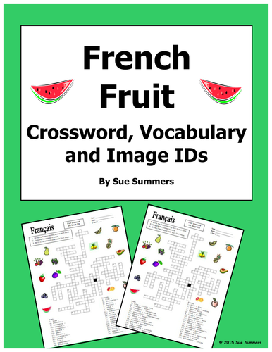 french fruit crossword puzzle and image ids worksheet and by suesummersshop teaching resources. Black Bedroom Furniture Sets. Home Design Ideas