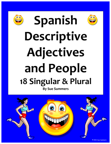 Spanish Adjectives And People Worksheet Number And Gender