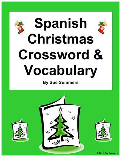 Spanish Christmas Navidad Crossword Puzzle Worksheet and Vocabulary
