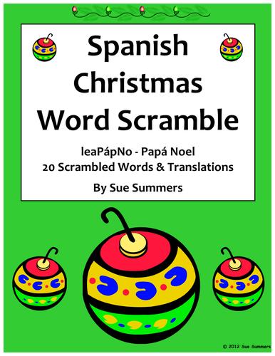 Spanish Christmas Word Scramble Worksheet - La Navidad
