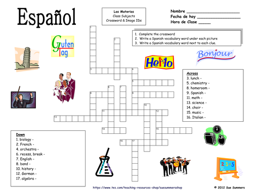 Spanish class subjects crossword puzzle and image ids worksheet by spanish class subjects crossword puzzle and image ids worksheet by suesummersshop teaching resources tes ccuart Image collections