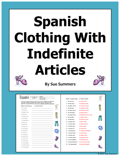 spanish clothing plurals and indefinite articles worksheet by suesummersshop teaching. Black Bedroom Furniture Sets. Home Design Ideas