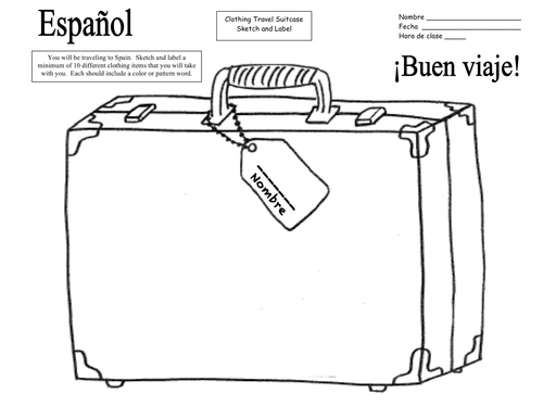 Spanish Clothing Travel Suitcase Sketch and Label and