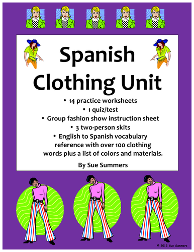Spanish Clothing Unit - Vocabulary, Skits, and Worksheets - 42 Pages