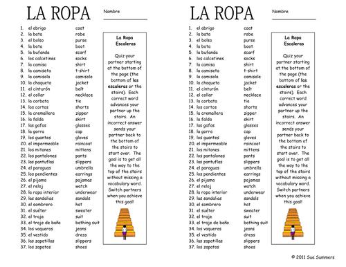 Spanish Clothing Vocabulary Partner Activity Vocabulary – Spanish Vocabulary Worksheets