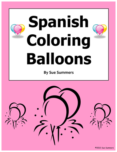 Spanish Coloring Balloons Worksheet - Globos y Los Colores by ...
