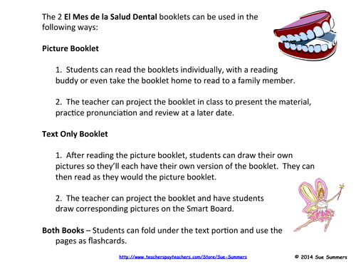 Spanish Dental Health Month 2 Booklets - El Mes de la Salud Dental
