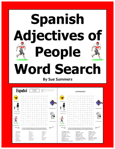 Spanish Descriptive Adjectives of People Word Search Worksheet