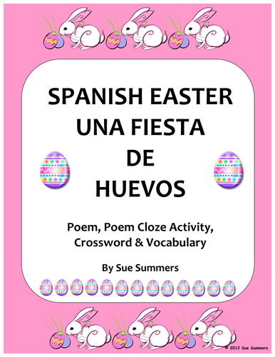 Spanish Easter Poem, Crossword, Cloze Activity and Vocabulary List