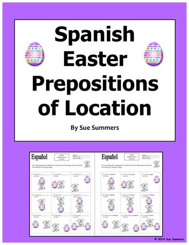 Spanish Easter Prepositions of Easter Bunny and Egg - El Conejo de Pascua