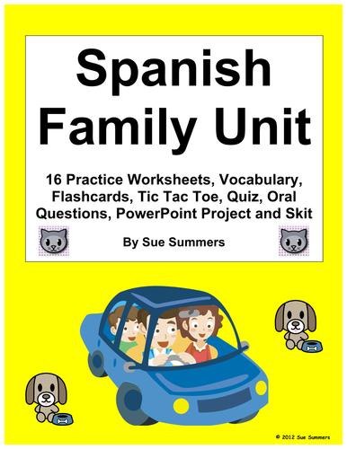 Spanish Family Unit - Vocabulary, Worksheets, Project, Quiz, Skit ...