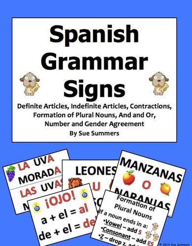 Spanish Grammar Bulletin Board 11 Signs