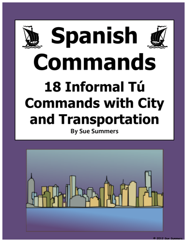 spanish informal tu commands with transportation and city sentences by uk teaching resources tes. Black Bedroom Furniture Sets. Home Design Ideas
