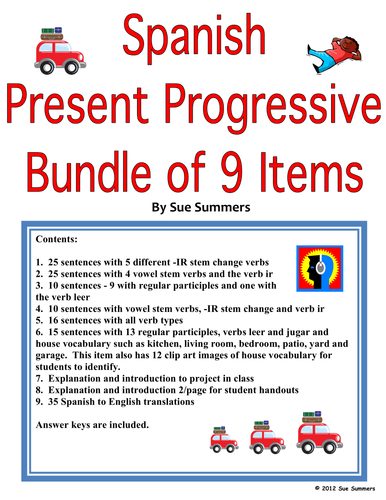 spanish present progressive bundle worksheets and reference by suesummersshop teaching. Black Bedroom Furniture Sets. Home Design Ideas