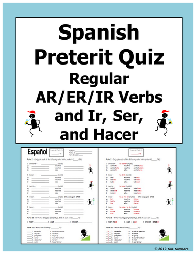 spanish preterit verb conjugation quiz or worksheet by suesummersshop teaching resources. Black Bedroom Furniture Sets. Home Design Ideas