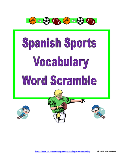 spanish sports word scramble los deportes by suesummersshop teaching resources. Black Bedroom Furniture Sets. Home Design Ideas