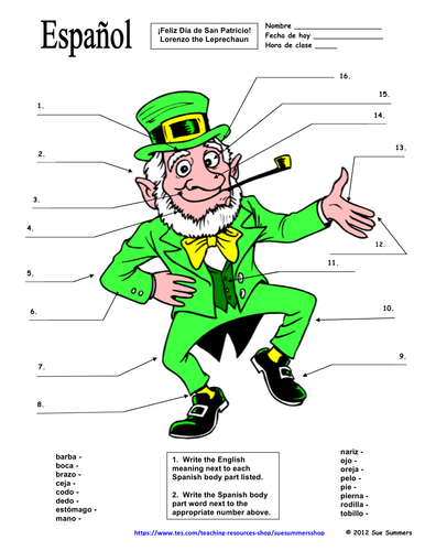Spanish St Patricks Day Label The Leprechaun Body Parts By