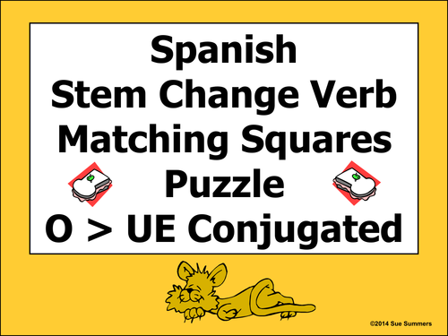 spanish stem change verbs matching squares puzzle o to ue by suesummersshop teaching resources. Black Bedroom Furniture Sets. Home Design Ideas