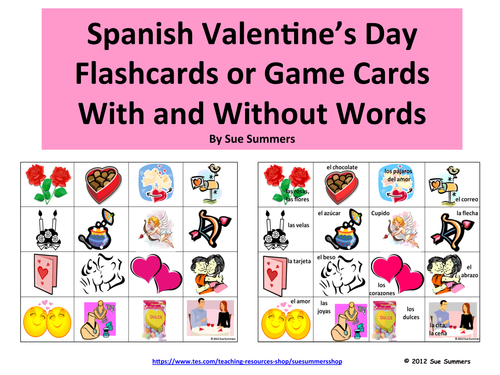 Sue Summers Shop Teaching Resources TES – Valentines Cards in Spanish