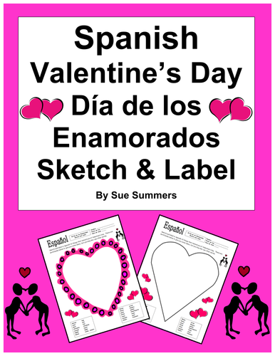 Spanish Valentine's Day Sketch and Label Activity - 2 Designs
