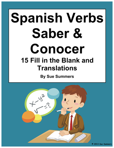 spanish verbs saber and conocer 15 fill in the blanks by uk teaching resources tes. Black Bedroom Furniture Sets. Home Design Ideas