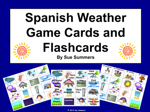 Spanish Weather Vocabulary Game Cards and Flashcards - El Tiempo