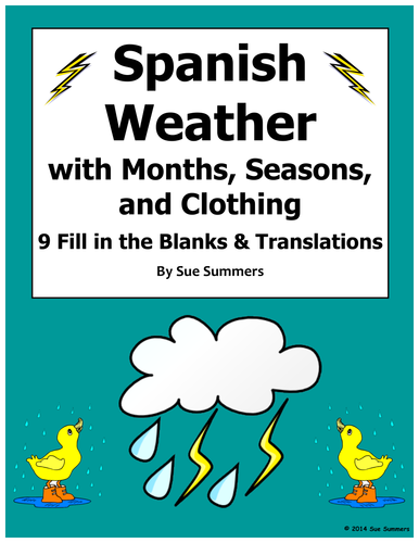Spanish Weather With Months Seasons And Clothing Worksheet By