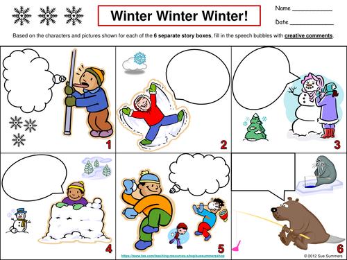 Winter Creative Writing Speech Bubble - ENGLISH