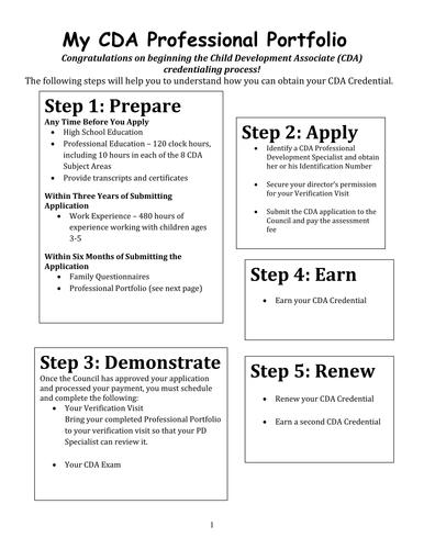 cda child development associates professional portfolio workbook by stajohnson teaching. Black Bedroom Furniture Sets. Home Design Ideas