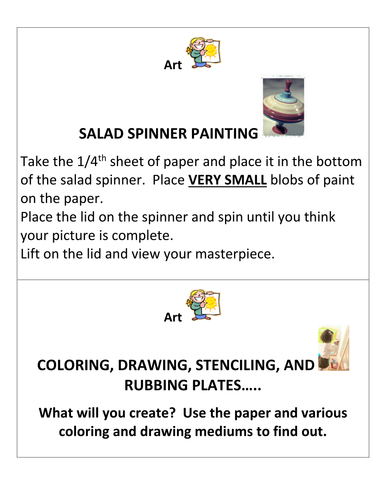 Early Childhood Education A Unit 2 day 3 Creative Art center activity cards