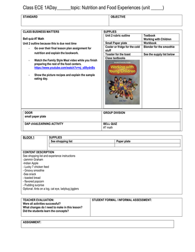 Early Childhood Education A Unit 2 day 8 lesson plan Food Experience & posters