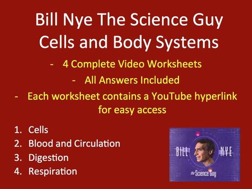 Bill Nye Video Worksheets FOUR Biology Cells and Body – Bill Nye Cells Worksheet