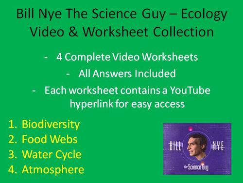 Bill Nye Video Worksheets Four Ecology Worksheet Collection By