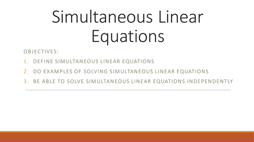 Simultaneous Linear Equations By Singhag26 Teaching Resources Tes