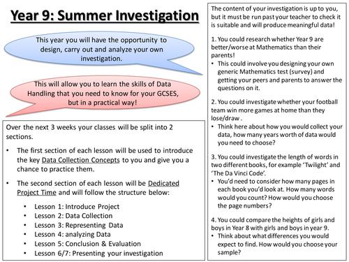 KS3 / KS4 Data Collection Summer Investigation