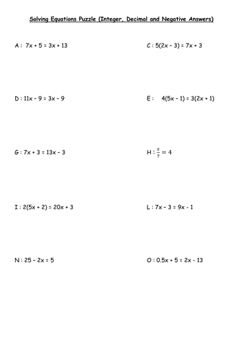 Solving Linear Equations Puzzle By Deborahcoates1980 Teaching