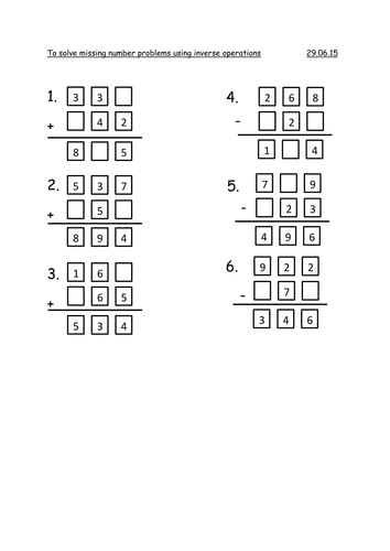 Year 3 Missing Number Problems