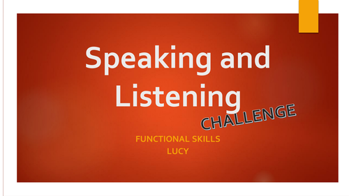 Speaking and Listening Challenge - L2/GCSE - The Sinking Ship
