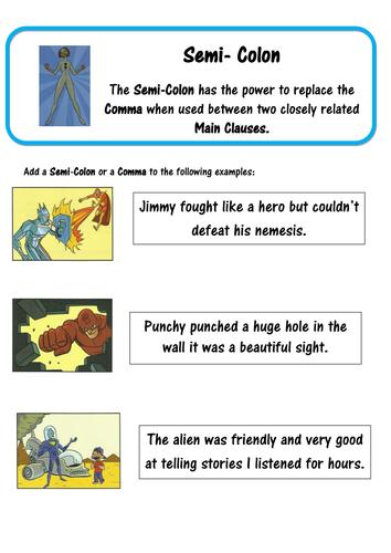 Super Grammar - Semi-Colons - SPaG by lastingliteracy - Teaching ...