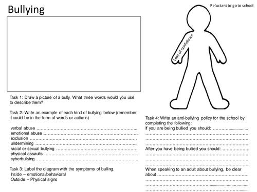 Bullying Worksheet by mjprestshaw Teaching Resources TES – Bullying Worksheet