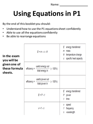 math practice for core physics (AQA formula sheet included)