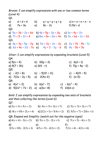 Expand brackets and simplify expressions differentiated worksheet by ...