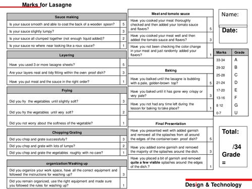 Practical assessment for lasagne