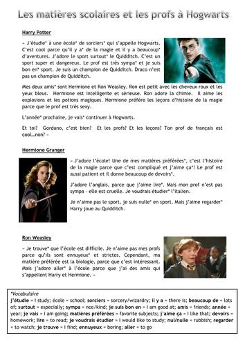 School Subjects + Teachers: Hogwarts Differentiated Text