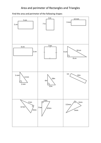 Area And Perimeter Of Rectangles And Triangles Worksheets