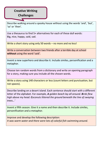 KS3 Creative Writing SOW by cdgray | Teaching Resources
