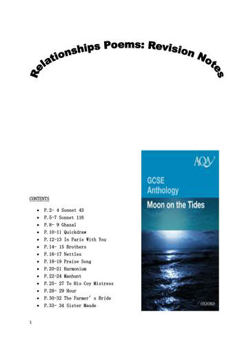 AQA GCSE English Literature Moon on the Tides revision