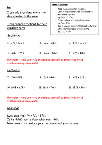 Adding Fractions (2 Way Differentiation)
