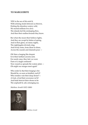 'To Marguerite' by Matthew Arnold
