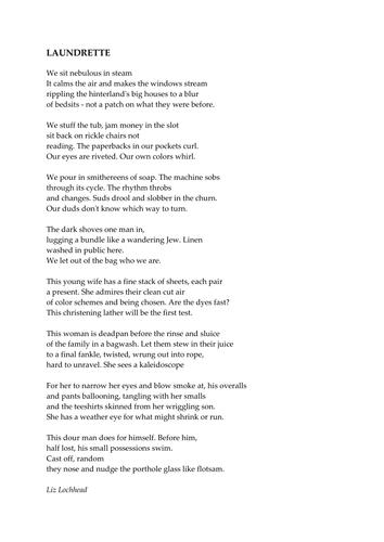 'Laundrette' by Liz Lochhead